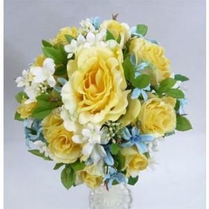 アートフラワー〔造花〕ブーケ/黄バラ・水色・白小花 ラウンド|bloomart