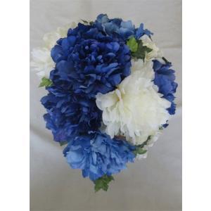 アートフラワー〔造花〕ブーケ/ブルー&ホワイト芍薬ブーケ ヘッド花付き|bloomart