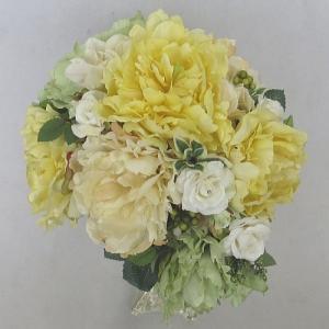 アートフラワー〔造花〕ブーケ/ホワイ&イエローナチュラル芍薬ブーケ|bloomart
