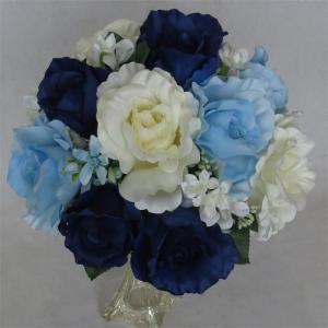 アートフラワー〔造花〕ブーケ/ブルー&ホワイト ラウンドブーケ|bloomart