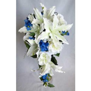 アートフラワー〔造花〕ブーケ/カサブランカ デルフィニウム キゃスケードブーケ|bloomart