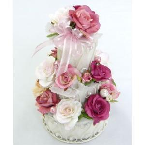 造花/ピンク・三段フラワーケーキ|bloomart