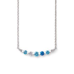 【FOR NECK】 神秘的に輝くブルーのグラデーションが美しいネックレス。 デコルテに添うラインデ...