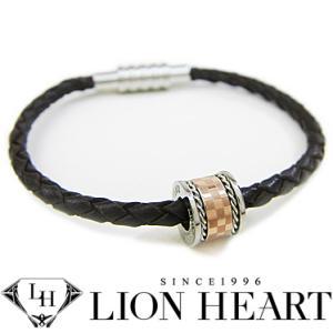 ライオンハート ブレスレット レディース LION HEART レザーブレスレット 04B121SL ステンレスアクセサリー