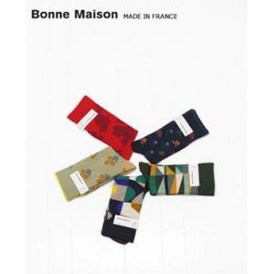 (ネコポスOK)Bonne Maison ボンヌ・ メゾン 柄ソックス 5色 IL16314|bluebeat-y