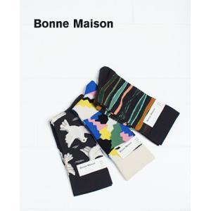 ボンヌメゾン 靴下 ソックス コットン ボンヌ・メゾン Bonne Maison ボーダー マルチカラー 鳥  IL17111 2017SS メール便OK|bluebeat-y
