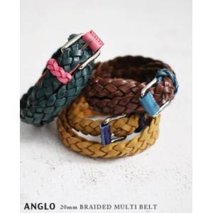 【40%OFF】ANGLO アングロ#8003 20mm 2トーンレザーメッシュベルト 3色 bluebeat-y
