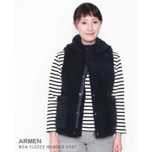 【30%OFF】 ARMEN アーメン ボア フリース フード ベスト 3色 NAM2431Y|bluebeat-y