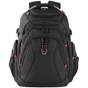 KROSER リュック17.3インチpcバッグ 旅行バックパック 登山バックパック大容量リュックサック (ブラック 17.3インチ)|bluebird-shoji