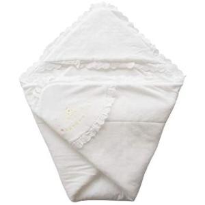 日本製 ふかふかパイル地 クマさん刺繍入りベビーアフガン おくるみ 年中OK素材 (ホワイト 85×85センチ)|bluebird-shoji