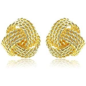[ナオットジュエリー] naotjewelry ゴールド イヤリング ノンホールピアス 18K (プレゼントBOX付き) 一粒 編み込み(ゴールド)|bluebird-shoji