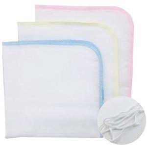 エンゼル 抗ウィルス素材ベビー ガーゼハンカチ3枚入り3色 マスク用ゴム付 綿100% 日本製 ふわふわやさしい肌ざわり bluebird-shoji