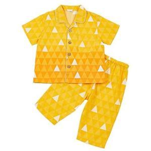 鬼滅子供パジャマ 半袖 七分ズポン上下セット 部屋着 綿100% ボーイズ&ガールズ適用 (鱗模様 100)|bluebird-shoji