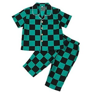 鬼滅子供パジャマ 半袖 七分ズポン上下セット 部屋着 綿100% ボーイズ&ガールズ適用 (市松模様 130)|bluebird-shoji