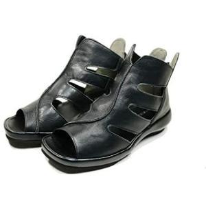 ブーツ レディース サマーブーツ 厚底 本革 日本製 ファスナー (ブラック 23.0 cm)|bluebird-shoji