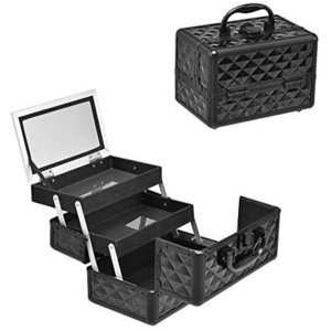 Costway コスメボックス メイクボックス プロ用 鏡付き 化粧品収納ボックス 化粧箱 コスメ収納ボックス メイク収納ボックス (ブラック)|bluebird-shoji