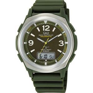 [シチズン Q&Q] 腕時計 アナログ 電波 ソーラー 防水 日付 曜日 表示 ラバーベルト グリーン MD20-305 (文字盤色-グリーン) bluebird-shoji