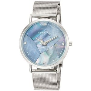 [フィールドワーク] 腕時計 アナログ クラッシュ メッシュ ブレスレット シェル GY002-1 レディース シルバー (文字盤色-ブルー) bluebird-shoji