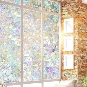ステンドグラスシール/窓用フィルム 目隠しシート/キラキラ ガラス/窓フィルム 装飾/光に当たるとで飛散防止 断熱 紫外線カット 虹色の輝き 水で貼る bluebird-shoji