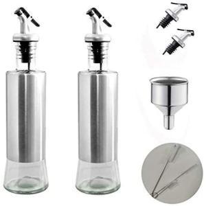 2020最新型漏れ防止家庭キッチン 調味料入れ オイルボトル 調味料 容器 オリーブオイル ガラス オイルポット 耐熱ガラス (300ml)|bluebird-shoji