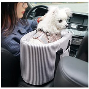 V-Dank ドライブボックス キャリーバッグ 2in1 小型犬 猫 ペット ドライブシート 車用 ドライブベッド ポータブル (ストライプ)|bluebird-shoji