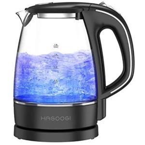 HAGOOGI 電気ケトル ガラス ケトル 1.2L 空焚き防止機能 ブラック (Black 1.2L)|bluebird-shoji