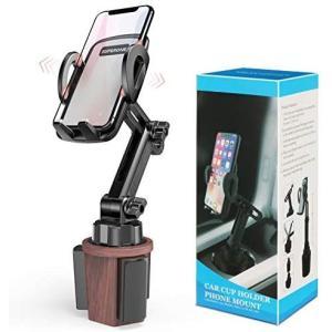 SUPERONE 車用カップホルダー電話マウント 簡単クランプ 木目カップホルダーカーマウント iPhone 12 SE 11 (ブラック+木目。)|bluebird-shoji