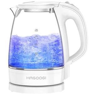 HAGOOGI電気ケトル ガラス ケトル 1.2L 耐熱ガラス/沸騰自動OFF機能/空焚き防止機能 湯沸かしケトル PSE認証済み (White)|bluebird-shoji
