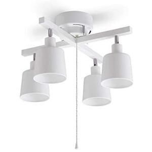 アイリスオーヤマ シーリングライト 4灯 スポットライト クロスタイプ 3段階調光 レトロ調 LED対応 簡単取付 インテリア照明 (2)ホワイト) bluebird-shoji