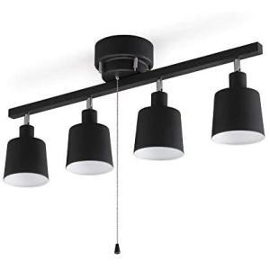 アイリスオーヤマ シーリングライト 4灯 スポットライト ストレートタイプ 3段階調光 レトロ調 LED対応 簡単取付 (1)ブラック) bluebird-shoji