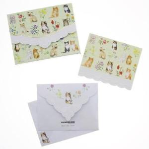 品番:Carol-NCP2371 カードセット / 封筒付き 10枚セット 中無地 柄 ネコ|bluebonnet-aoyama