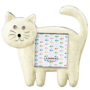 品番:EK917-10  ネコミニフレーム ホワイト / 猫の写真立て|bluebonnet-aoyama