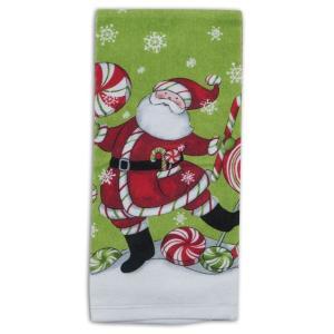 品番:Kay-H5150  クリスマス柄 キッチンタオル / ペパーミントサンタ柄|bluebonnet-aoyama