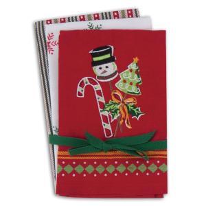 品番:Kay-H5184  クリスマス柄 キッチンタオル3枚セット / スノーマン・雪の結晶・ストライプ柄|bluebonnet-aoyama
