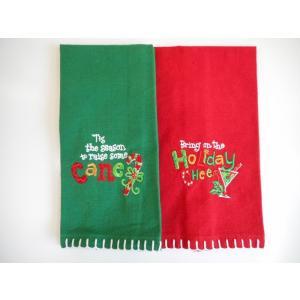 品番:Kay-H5278-5298  クリスマス柄 キッチンタオルセット / レッド&グリーン柄|bluebonnet-aoyama