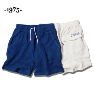 ショートパンツ メンズ レディース サーマル 短め 1975 TOKYO サーマルショーツ ネイビー アイボリー セール|blueism-y