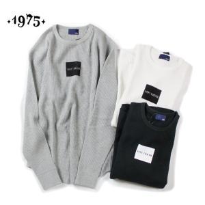 Tシャツ 長袖 メンズ レディース ブランド ワッフル サーマル ボックスロゴ 長袖Tシャツ ロンT ロングTシャツ サーフ 1975 TOKYO セール|blueism-y