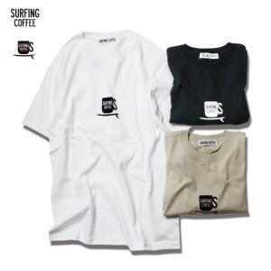 Tシャツ メンズ 半袖 ブランド おしゃれ サーフ メンズ レディース Surfing Coffee サーフィンコーヒー SC MAIN MARK TEE ホワイト ブラック ストーン セール|blueism-y