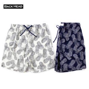 ショートパンツ メンズ ブランド 短め BACKHEAD 日本製 ショーツ バギーパンツ パイナップル サーフ アメカジ 日本 総柄 blueism-y