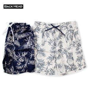 ショートパンツ メンズ ブランド 短め BACKHEAD 日本製 ショーツ バギーパンツ 葉っぱ 葉 サーフ アメカジ 日本 総柄 blueism-y