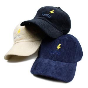 キャップ メンズ ブランド サーフ コーデュロイ 帽子 レディース Blueism コーデュロイ 刺繍 雷 波 ユニセックス|blueism-y