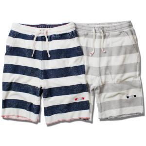 ショートパンツ メンズ ボーダー ルームウェア ブランド オーガニックコットン パイル パンツ ショーツ リラックス 半ズボン 部屋着|blueism-y