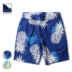 ショートパンツ メンズ ブランド 短め 膝下 オフショア アロハ ショーツ パンツ 短パン パイナップル 総柄 おしゃれ サーフ サーフブランド|blueism-y