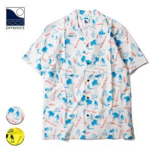 アロハシャツ メンズ ブランド オフショア オープンシャツ シャツ 半袖 サーフィン ヤシ アロハ 総柄 おしゃれ サーフ サーフブランド|blueism-y