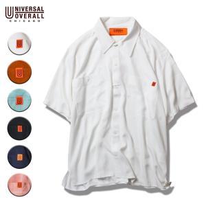 オープンカラーシャツ メンズ 半袖 レーヨン ブランド ユニバーサルオーバーオール シャツ ワークシャツ アメカジ|blueism-y