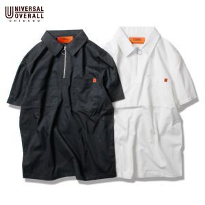 ジップシャツ メンズ ユニバーサルオーバーオール 半袖ハーフジップシャツ ポケット ハーフジップシャツ 半袖ジップシャツ 登山 アメカジ|blueism-y