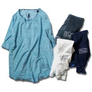 パイル地 Tシャツ メンズ 半袖 カットオフ ブランド レディース 七分丈 半袖Tシャツ ロゴ サーフ feel so easy WEST SHORE|blueism-y