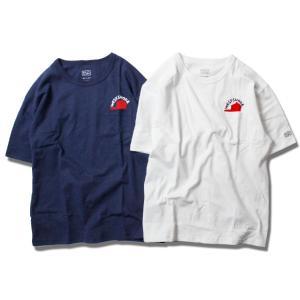 ポケットtシャツ メンズ ブランド レディース  Tシャツ 半袖 半袖Tシャツ ポケット ポケT ロゴ キャップ 帽子 帽子マーク サーフ 白 紺|blueism-y
