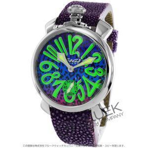 【数量限定特価】ガガミラノ GaGa MILANO 腕時計 マヌアーレ48MM アニマーレ 世界限定300本 ガルーシャレザー メンズ 5010ART.03S bluek