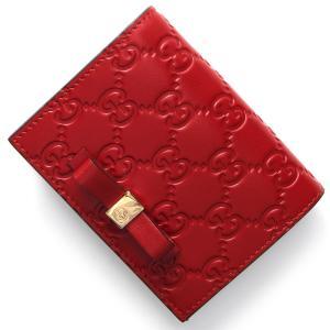 グッチ カードケース 二つ折財布札入れ グッチ シグネチャー GG ハイビスカスレッド 406924 CWC1G 6433 レディース|bluek